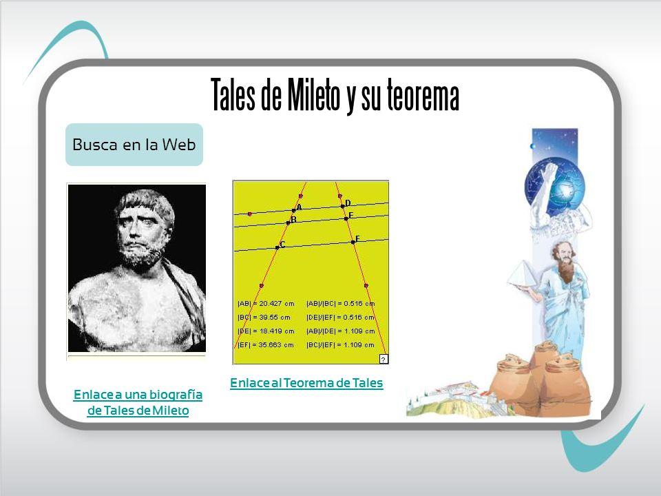 Enlace al Teorema de Tales Enlace a una biografía de Tales de Mileto