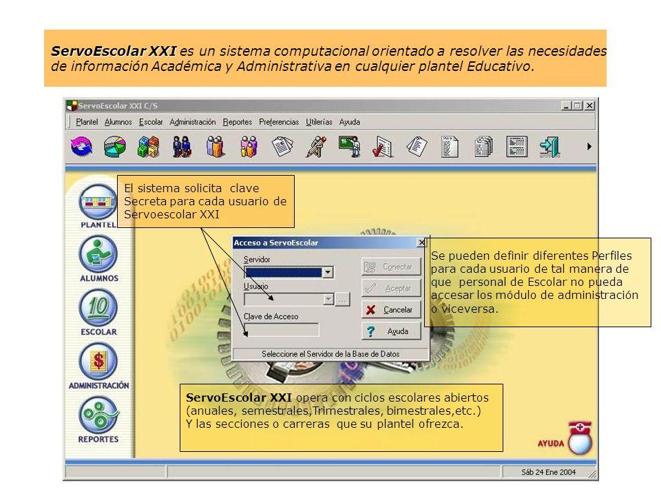 ServoEscolar XXI es un sistema computacional orientado a resolver las necesidades