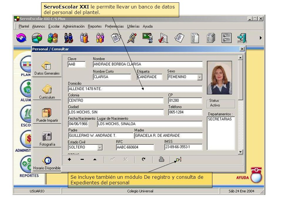 ServoEscolar XXI le permite llevar un banco de datos