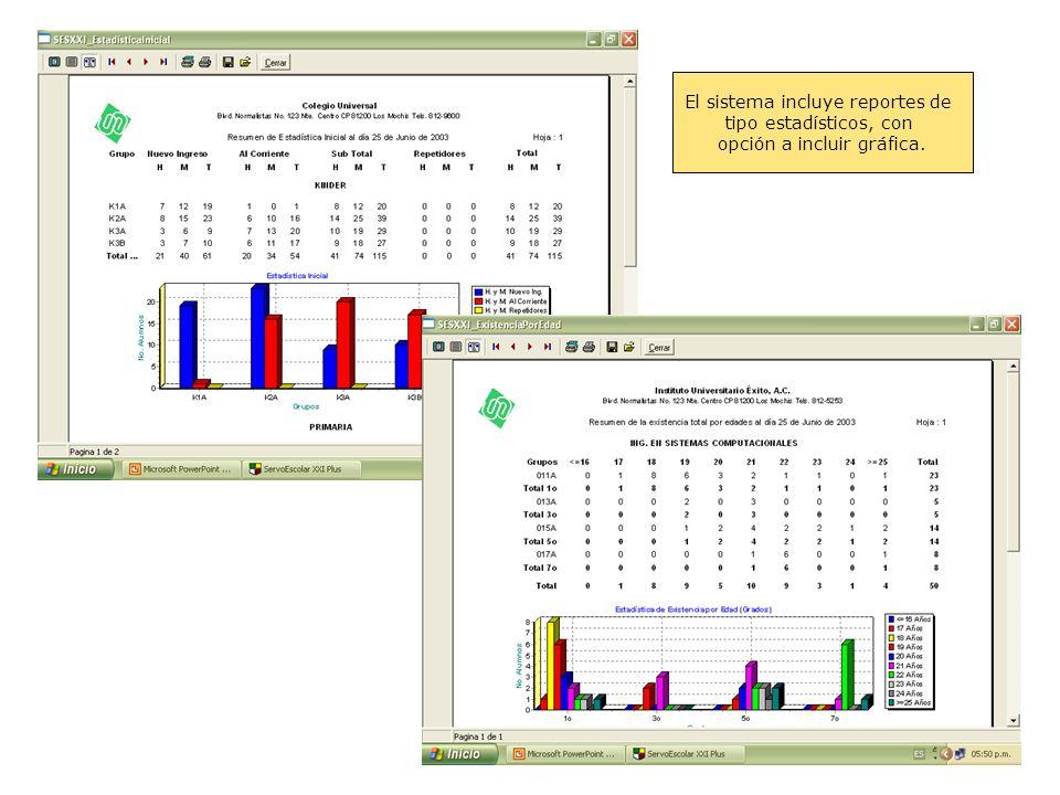 El sistema incluye reportes de tipo estadísticos, con