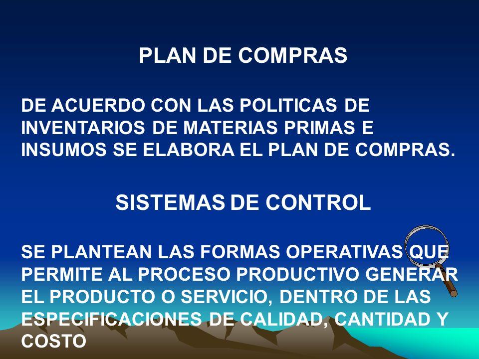 PLAN DE COMPRAS SISTEMAS DE CONTROL