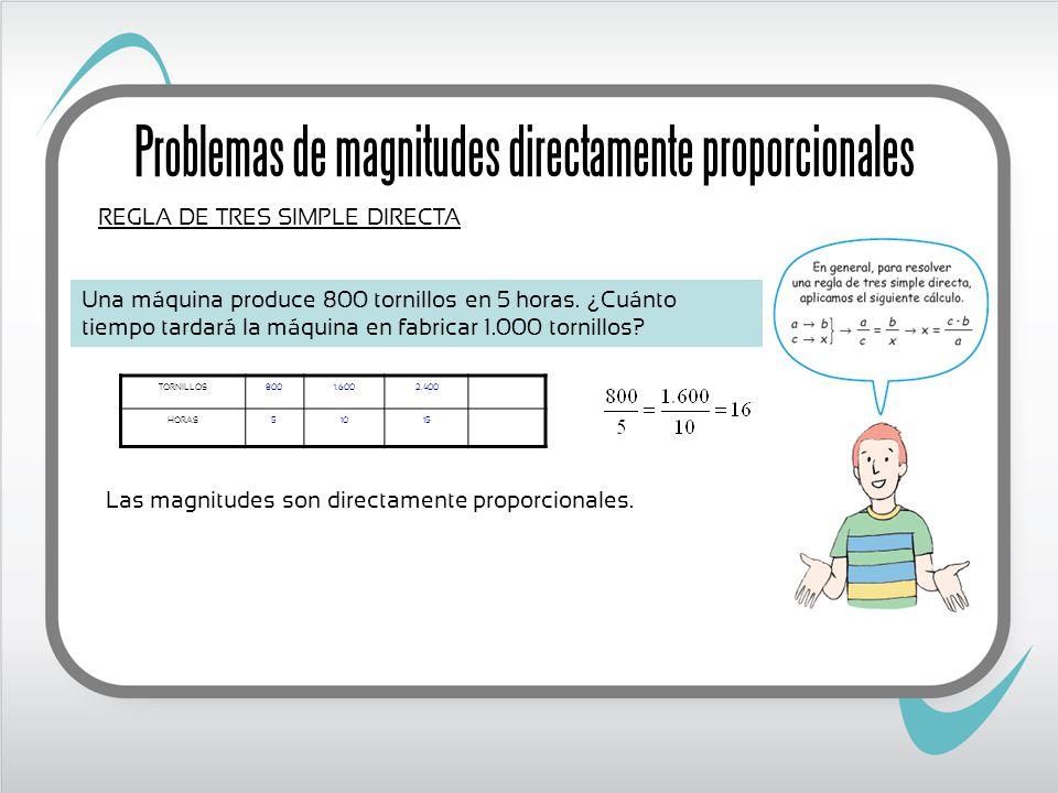 Problemas de magnitudes directamente proporcionales