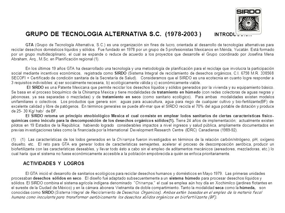 GRUPO DE TECNOLOGIA ALTERNATIVA S.C. (1978-2003 ) INTRODUCCION