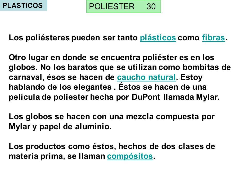Los poliésteres pueden ser tanto plásticos como fibras.