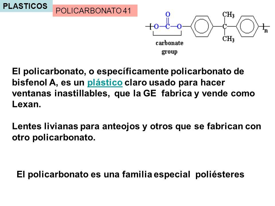 El policarbonato es una familia especial poliésteres