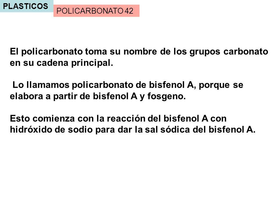 PLASTICOS POLICARBONATO 42. El policarbonato toma su nombre de los grupos carbonato en su cadena principal.