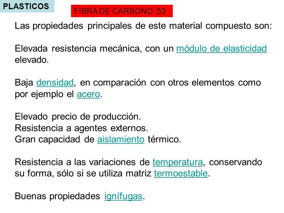 Las propiedades principales de este material compuesto son: