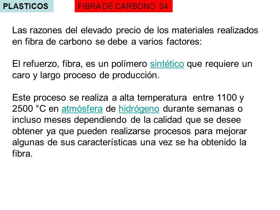 PLASTICOS FIBRA DE CARBONO 54. Las razones del elevado precio de los materiales realizados en fibra de carbono se debe a varios factores: