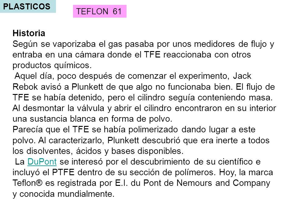 PLASTICOS TEFLON 61. Historia.