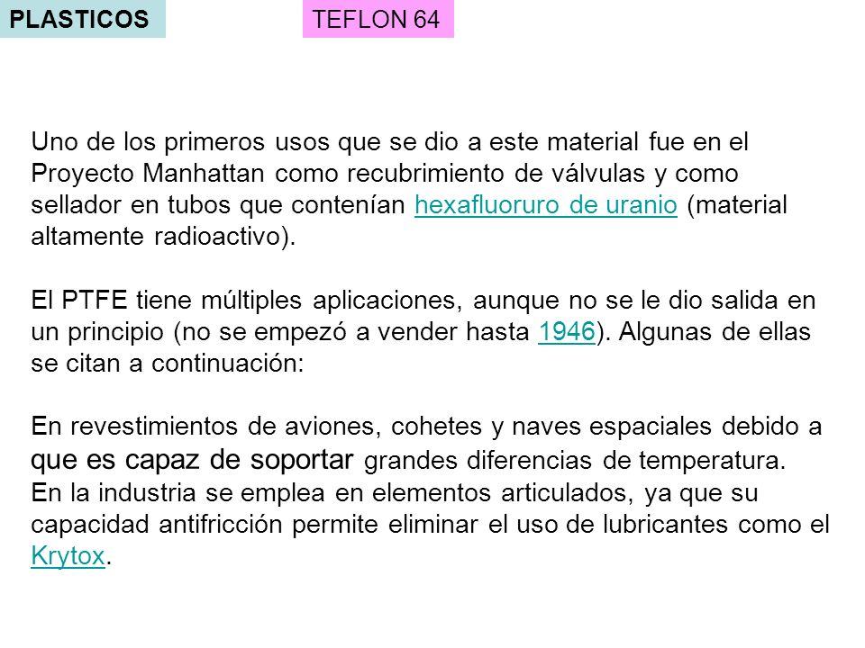 PLASTICOS TEFLON 64.