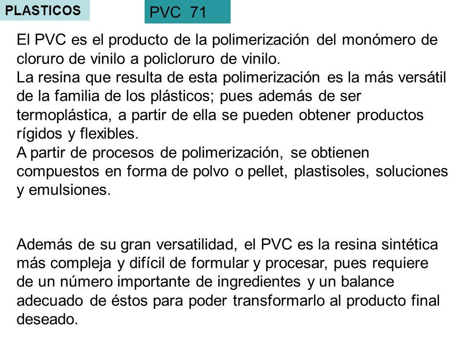 PLASTICOS PVC 71. El PVC es el producto de la polimerización del monómero de cloruro de vinilo a policloruro de vinilo.
