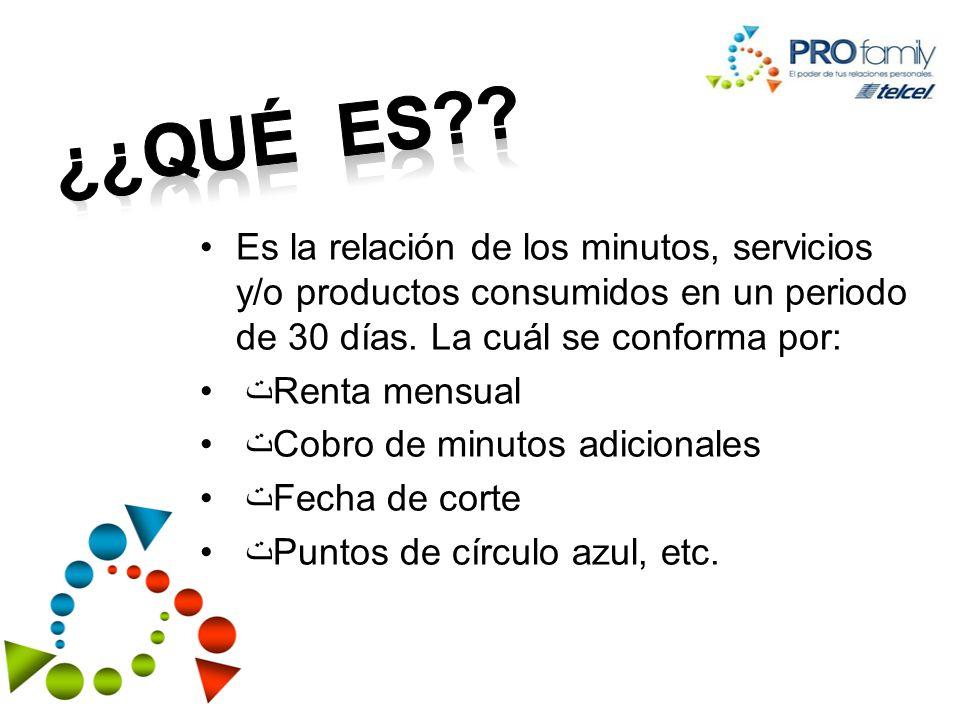 ¿¿Qué es Es la relación de los minutos, servicios y/o productos consumidos en un periodo de 30 días. La cuál se conforma por: