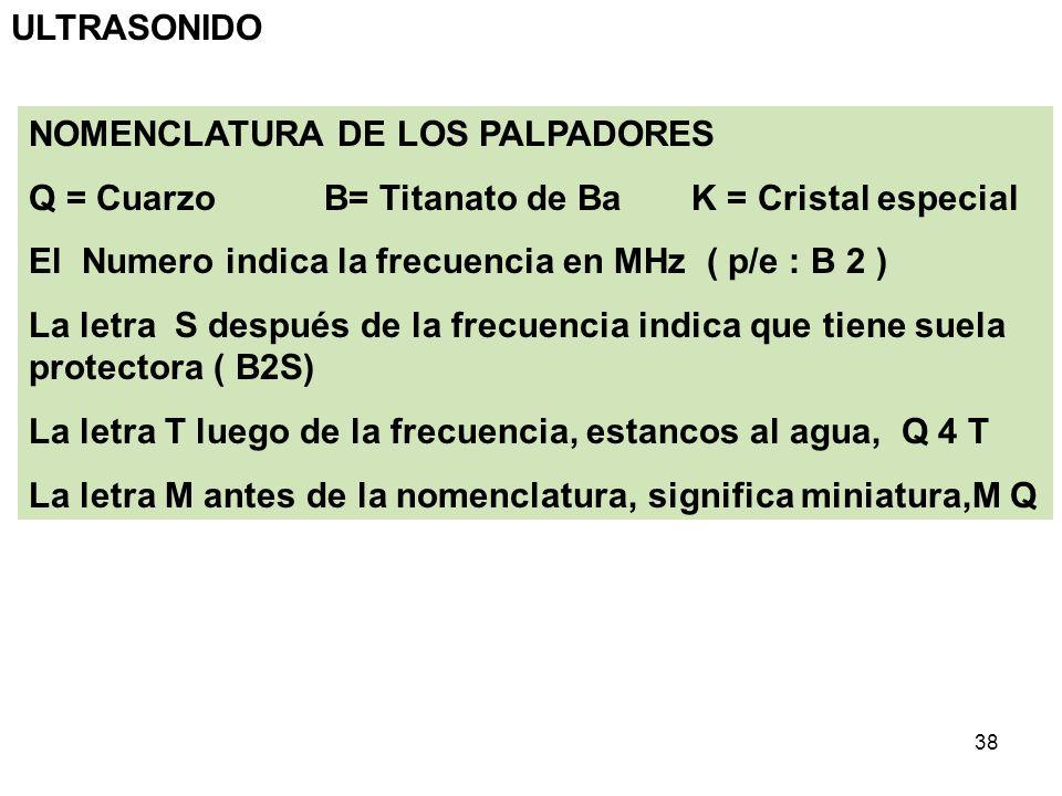 ULTRASONIDONOMENCLATURA DE LOS PALPADORES. Q = Cuarzo B= Titanato de Ba K = Cristal especial.