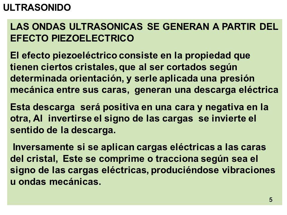 ULTRASONIDO LAS ONDAS ULTRASONICAS SE GENERAN A PARTIR DEL EFECTO PIEZOELECTRICO.