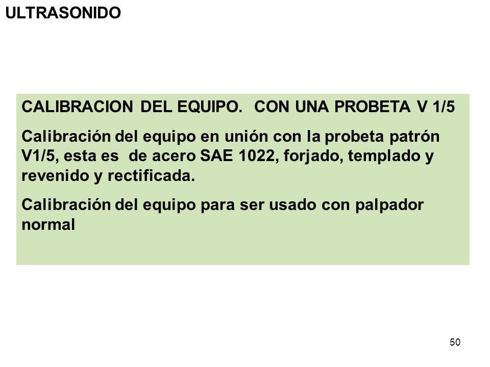 ULTRASONIDO CALIBRACION DEL EQUIPO. CON UNA PROBETA V 1/5.