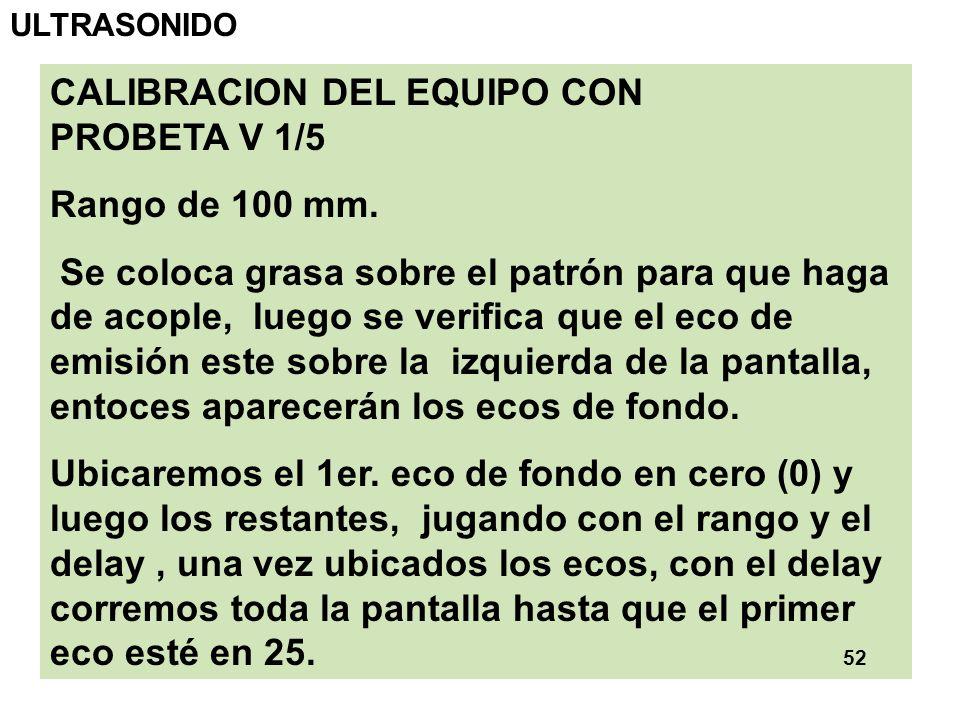 CALIBRACION DEL EQUIPO CON PROBETA V 1/5 Rango de 100 mm.
