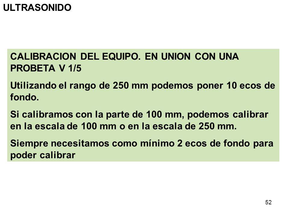 ULTRASONIDO CALIBRACION DEL EQUIPO. EN UNION CON UNA PROBETA V 1/5. Utilizando el rango de 250 mm podemos poner 10 ecos de fondo.