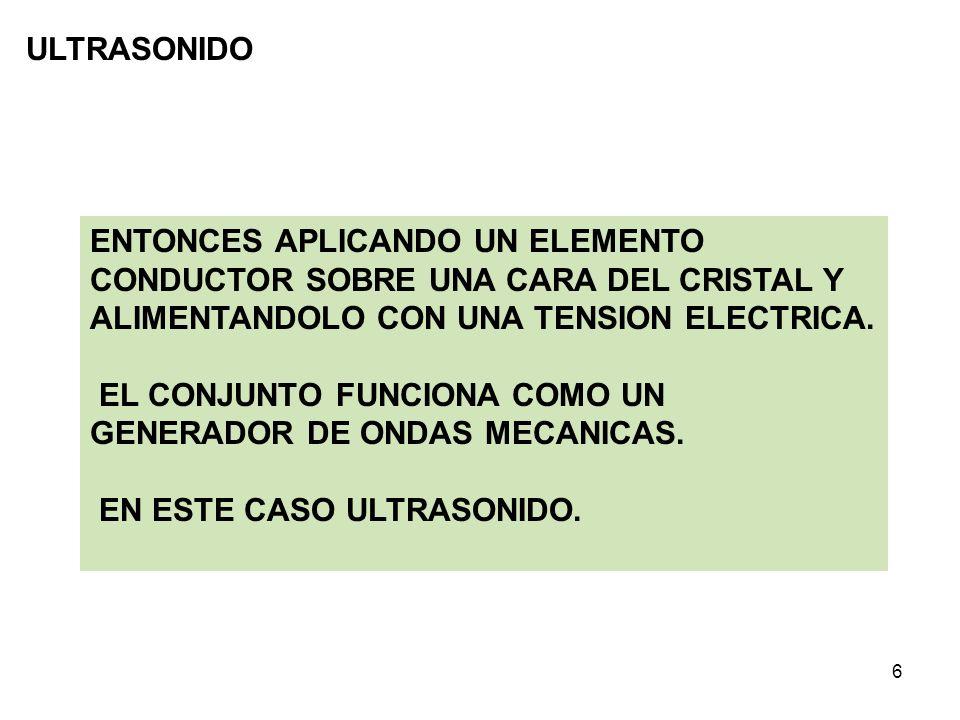 ULTRASONIDO ENTONCES APLICANDO UN ELEMENTO CONDUCTOR SOBRE UNA CARA DEL CRISTAL Y ALIMENTANDOLO CON UNA TENSION ELECTRICA.