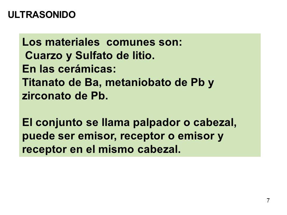 Los materiales comunes son: Cuarzo y Sulfato de litio.