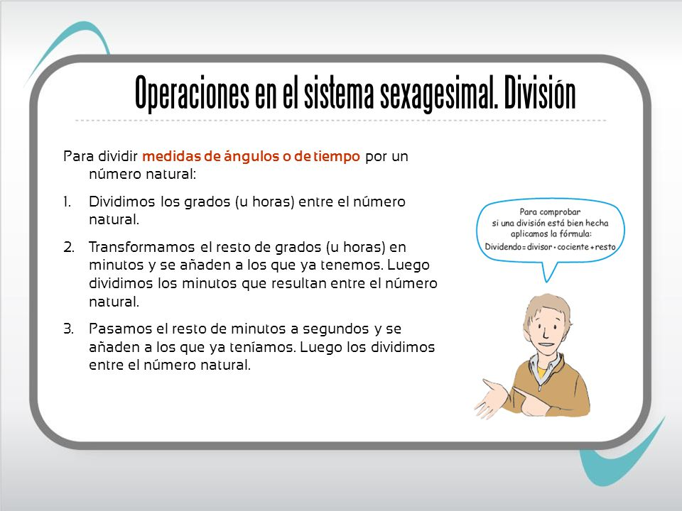 Operaciones en el sistema sexagesimal. División