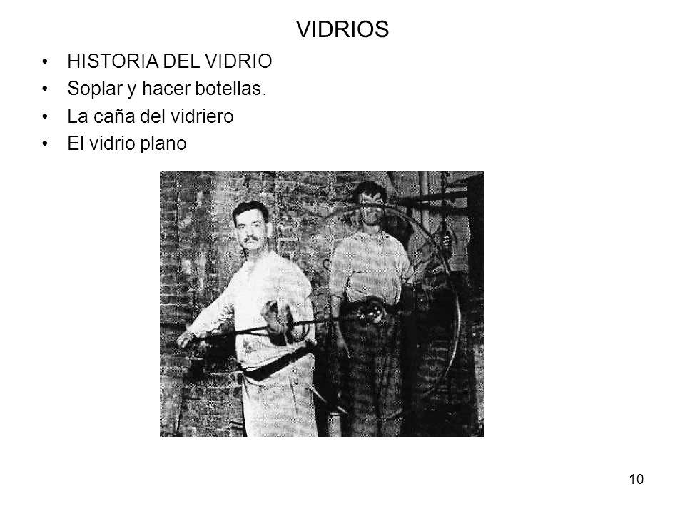 VIDRIOS HISTORIA DEL VIDRIO Soplar y hacer botellas.