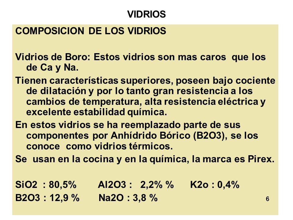 VIDRIOS COMPOSICION DE LOS VIDRIOS. Vidrios de Boro: Estos vidrios son mas caros que los de Ca y Na.