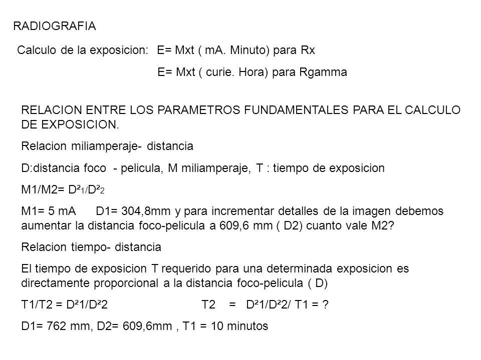 Calculo de la exposicion: E= Mxt ( mA. Minuto) para Rx