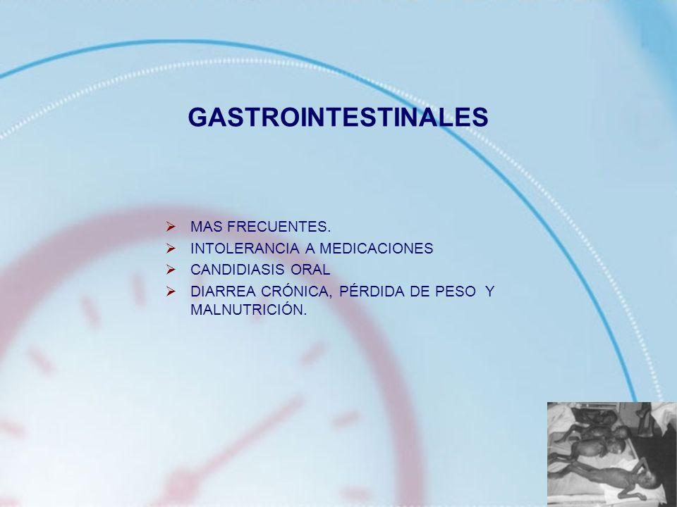 GASTROINTESTINALES MAS FRECUENTES. INTOLERANCIA A MEDICACIONES
