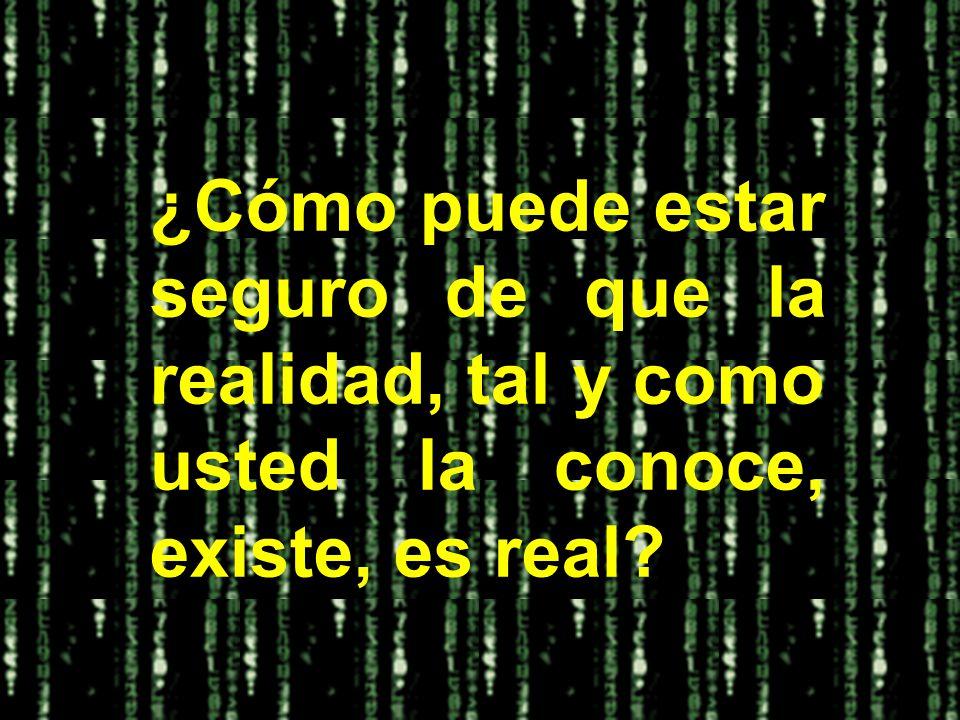¿Cómo puede estar seguro de que la realidad, tal y como usted la conoce, existe, es real