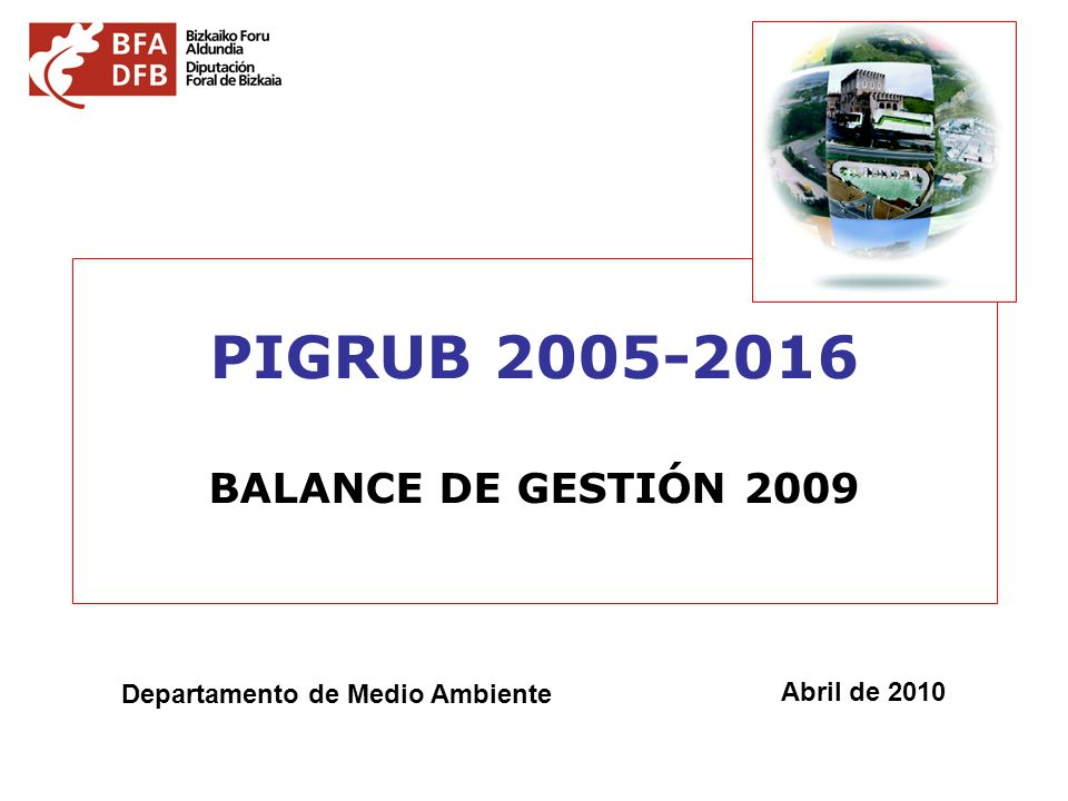 PIGRUB 2005-2016 BALANCE DE GESTIÓN 2009