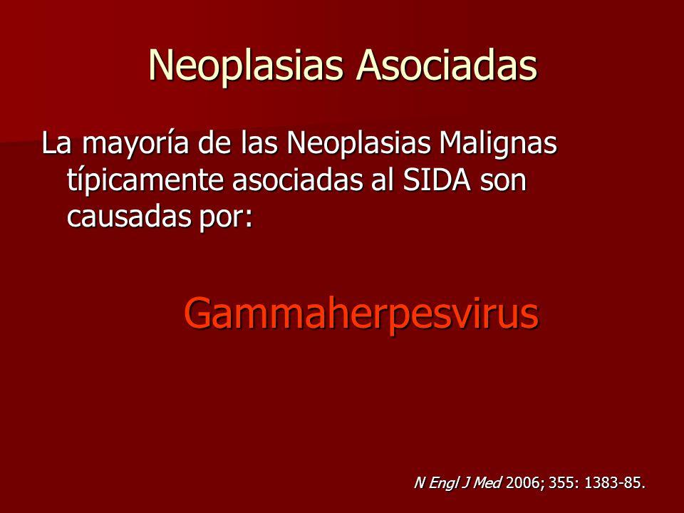 Neoplasias Asociadas La mayoría de las Neoplasias Malignas típicamente asociadas al SIDA son causadas por: