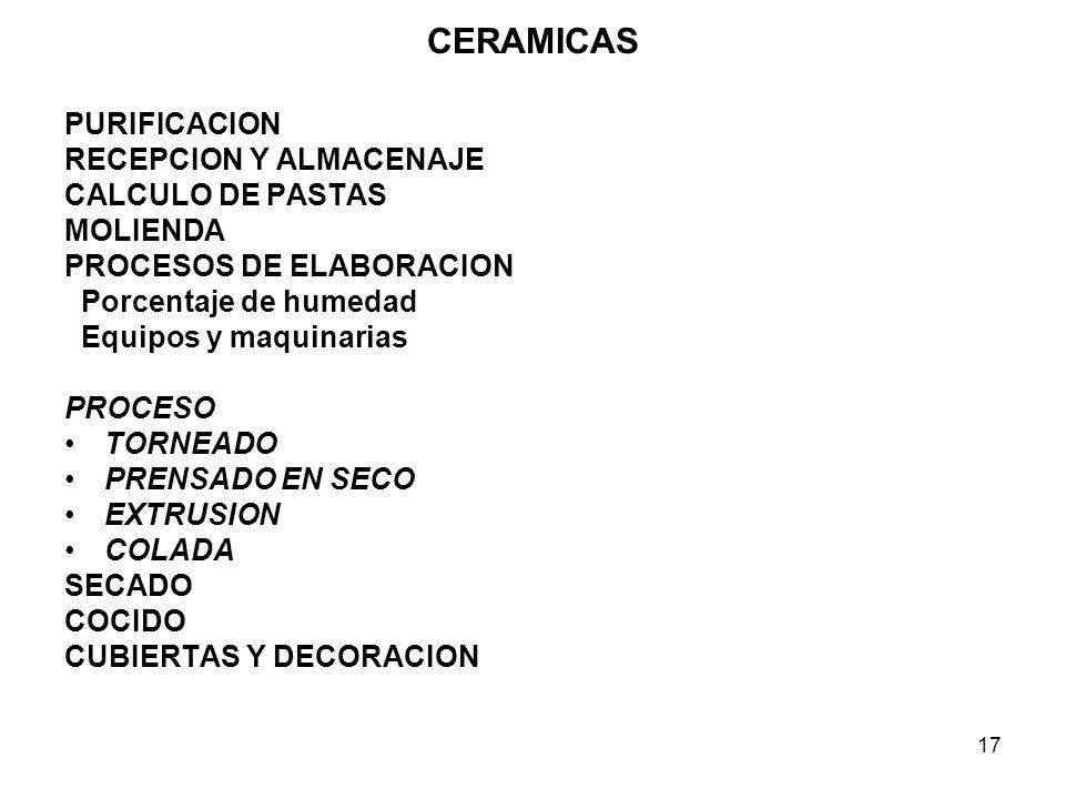 CERAMICAS PURIFICACION RECEPCION Y ALMACENAJE CALCULO DE PASTAS