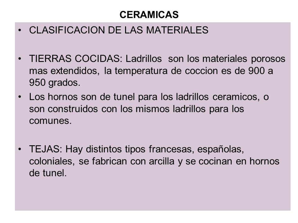 CERAMICAS CLASIFICACION DE LAS MATERIALES.