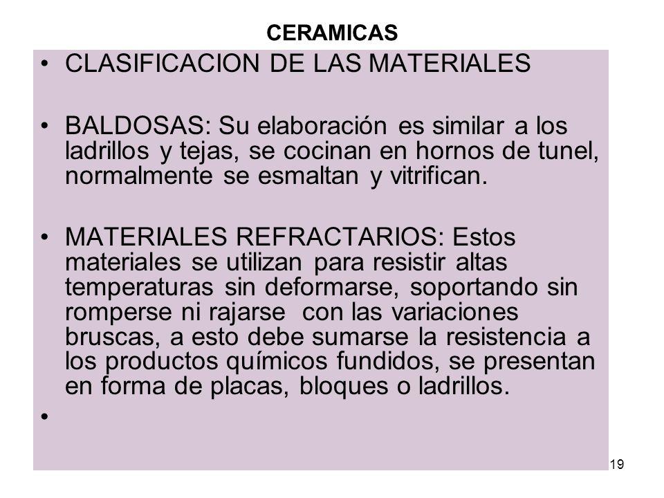 CLASIFICACION DE LAS MATERIALES