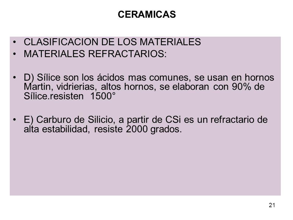 CERAMICAS CLASIFICACION DE LOS MATERIALES. MATERIALES REFRACTARIOS: