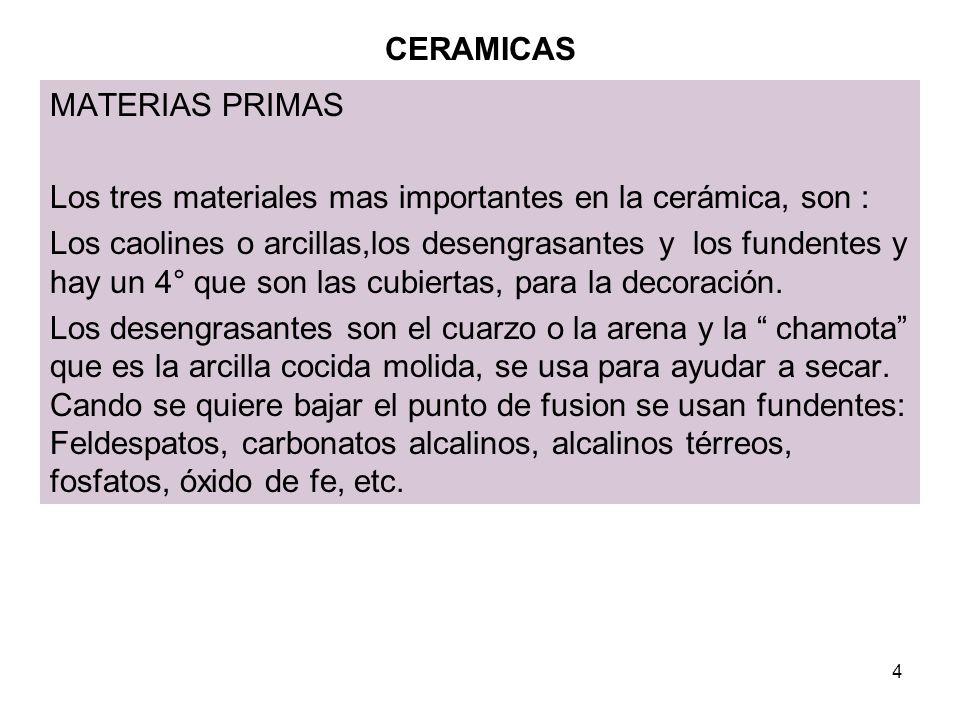 CERAMICAS MATERIAS PRIMAS. Los tres materiales mas importantes en la cerámica, son :