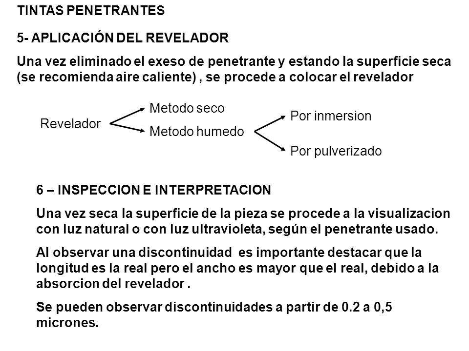 TINTAS PENETRANTES 5- APLICACIÓN DEL REVELADOR.