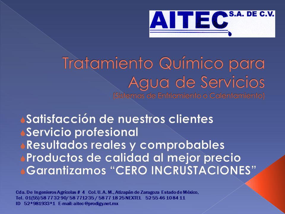 Tratamiento Químico para Agua de Servicios (Sistemas de Enfriamiento o Calentamiento)