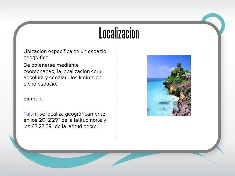 Localización Ubicación específica de un espacio geográfico.