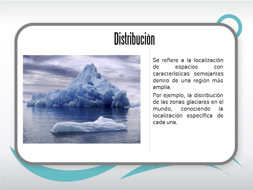 Distribución Se refiere a la localización de espacios con características semejantes dentro de una región más amplia.