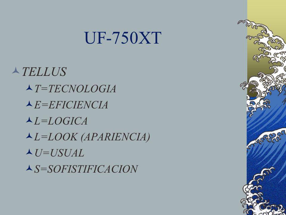 UF-750XT TELLUS T=TECNOLOGIA E=EFICIENCIA L=LOGICA L=LOOK (APARIENCIA)