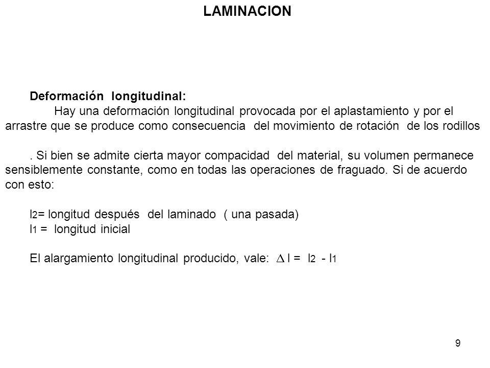 LAMINACION Deformación longitudinal: