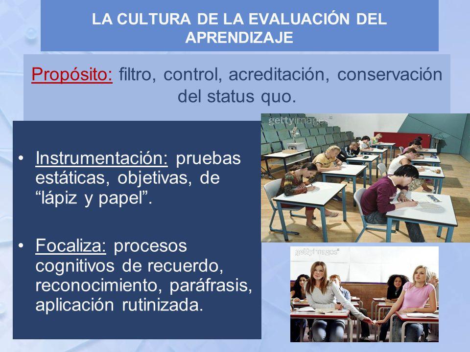 Propósito: filtro, control, acreditación, conservación del status quo.