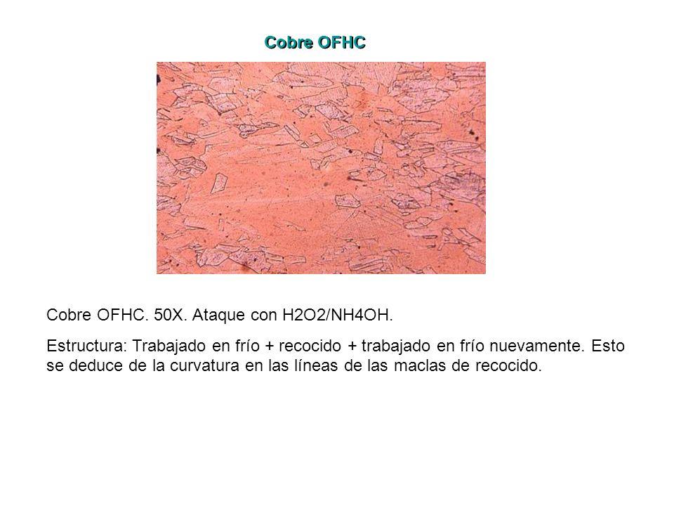 Cobre OFHC Cobre OFHC. 50X. Ataque con H2O2/NH4OH.