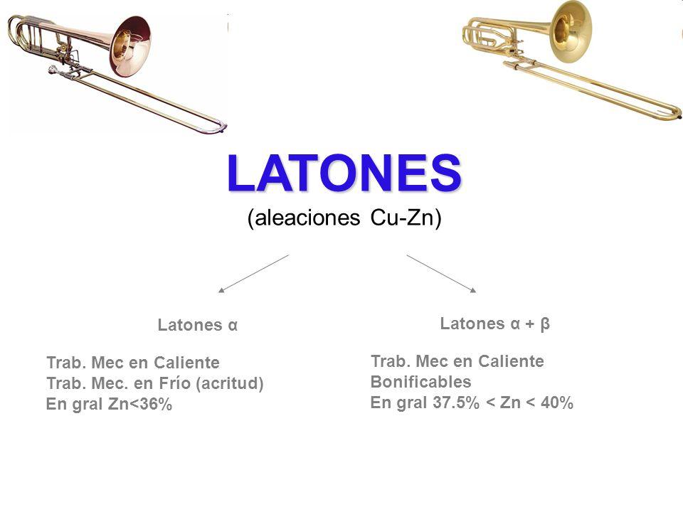 LATONES (aleaciones Cu-Zn) Latones α Latones α + β