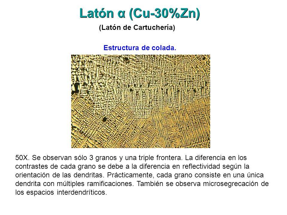 Latón α (Cu-30%Zn) (Latón de Cartuchería) Estructura de colada.
