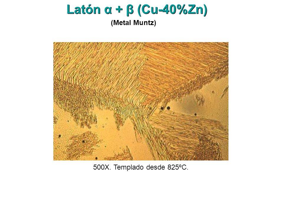 Latón α + β (Cu-40%Zn) (Metal Muntz) 500X. Templado desde 825ºC.