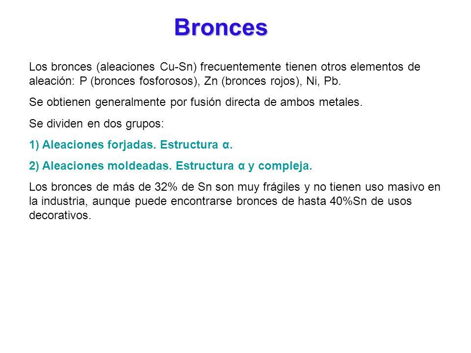Bronces Los bronces (aleaciones Cu-Sn) frecuentemente tienen otros elementos de aleación: P (bronces fosforosos), Zn (bronces rojos), Ni, Pb.