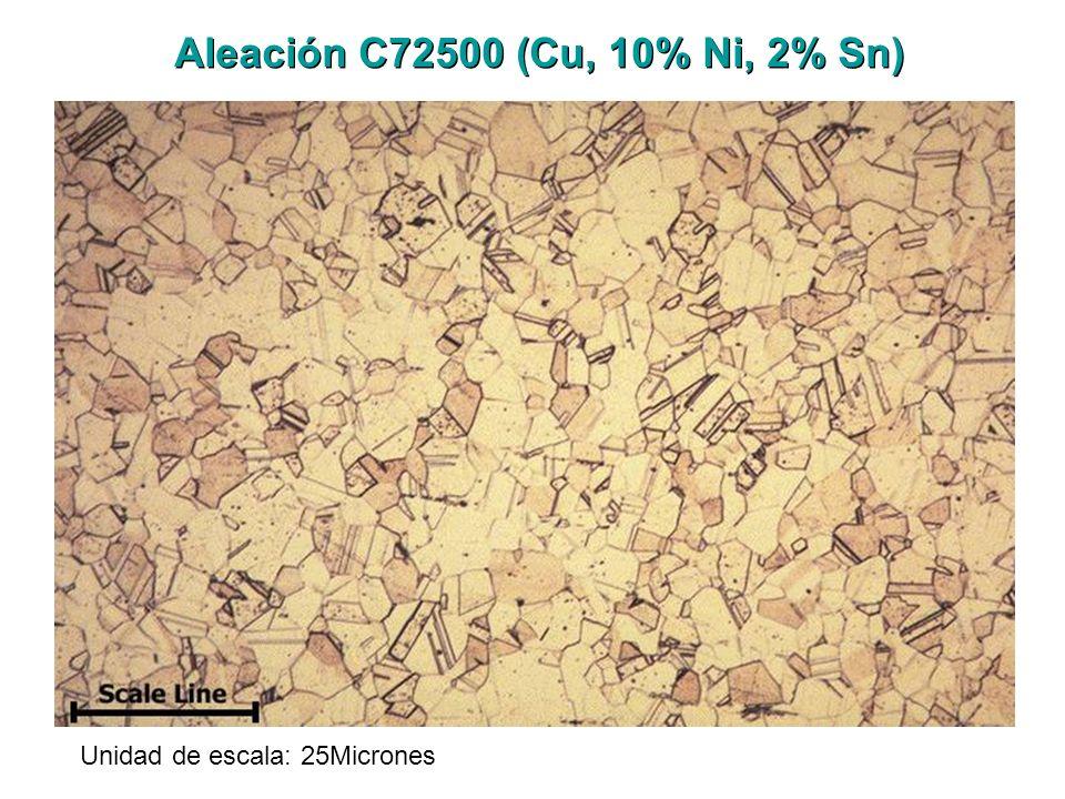 Aleación C72500 (Cu, 10% Ni, 2% Sn) Unidad de escala: 25Micrones