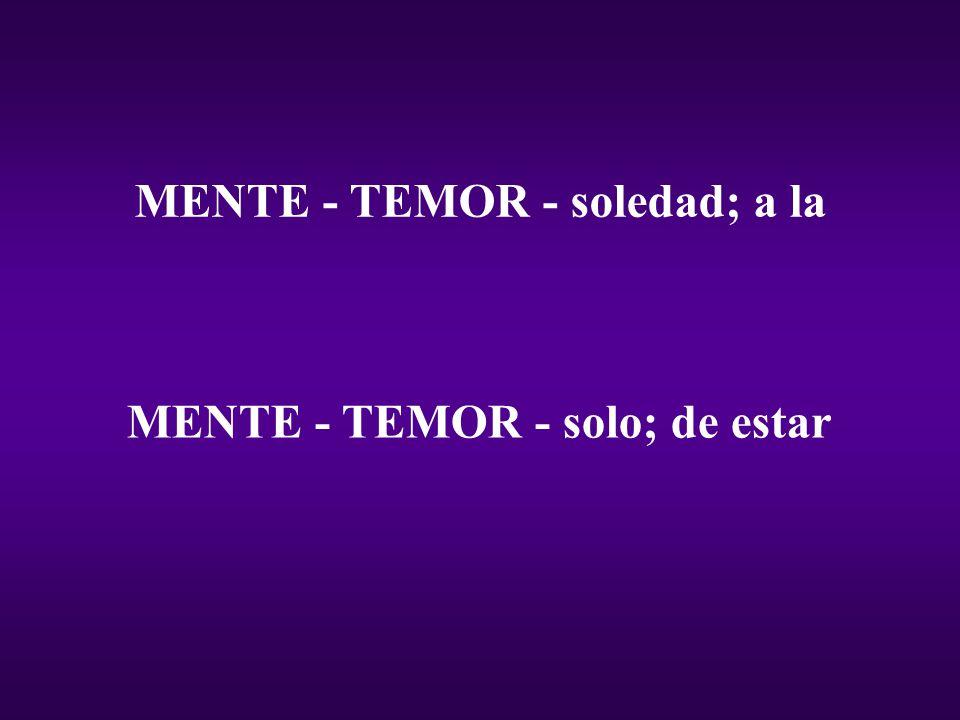 MENTE - TEMOR - soledad; a la